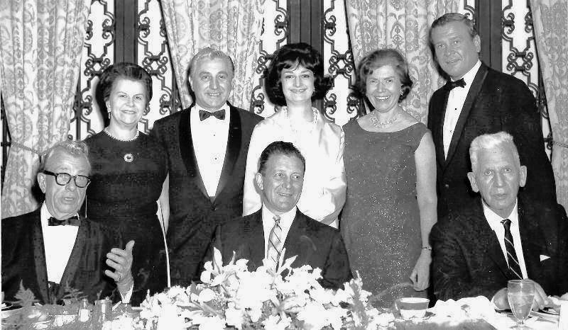 Former Illinois State Society President Virginia Blake is shown upper left in this group photo of the head table for the 1965 society dinner. Seated from left to right in the first row are Sen. Everett M. Dirksen, Gov. Otto Kerner, and Sen. Paul Douglas. The society will host a 100th birthday party Virginia Blake this coming Wednesday night at the Capitol Hill Club in DC.