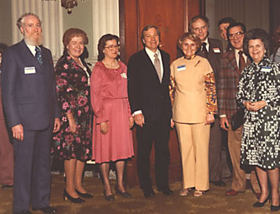 1978 Illinois State Society Board of Directors with officers: Ralph Golden, Helen Lewis, Marie McQueen, Sen. Chuck Percy, Violet Watka, Dave Jenkins, Marve Boruff, and Virginia Blake.