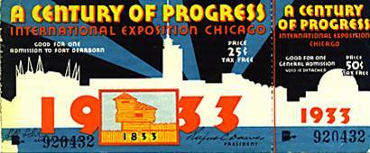 "1933 Century of Progress Fair in Chicago The Illinois State Society of Washington, DC took advantage of special group fares offered by the Baltimore and Ohio Railroad to take members to Chicago for the 1933 World's Fair. A special train car just for Illinoisans who were federal employees from ""Egypt"" or southern Illinois was a centerpiece of one of the trips. Many federal employees wound up taking that trip sponsored by the Illinois State Society."